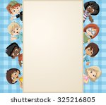 card with a group of happy... | Shutterstock .eps vector #325216805