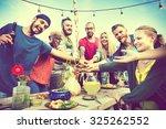 diverse beach summer friends... | Shutterstock . vector #325262552