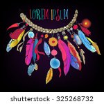 beautiful necklace in boho style | Shutterstock .eps vector #325268732