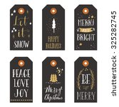 vintage christmas gift tags | Shutterstock .eps vector #325282745
