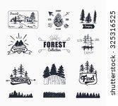 hand drawn logo set. retro... | Shutterstock .eps vector #325316525