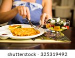 potato cutlets with sour cream | Shutterstock . vector #325319492