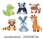 cute cartoon animals isolated... | Shutterstock .eps vector #325328726