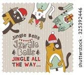 christmas card with cute little ... | Shutterstock .eps vector #325392446