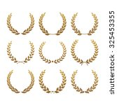 Set From Gold Laurel Wreath