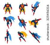 super hero in different poses ... | Shutterstock .eps vector #325456316