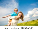mother and son having fun | Shutterstock . vector #32546845