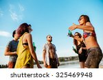 hipster friends having party at ... | Shutterstock . vector #325469948