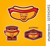 set of retro colorful hotdog... | Shutterstock .eps vector #325542452