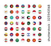 set of round icons asian flags... | Shutterstock . vector #325543568