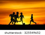 three brothers boys play at... | Shutterstock . vector #325549652