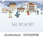 ski resort aerial view  winter...   Shutterstock .eps vector #325560938