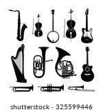 silhouettes of musical... | Shutterstock .eps vector #325599446