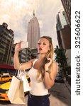 blond tourist girl selfie photo ... | Shutterstock . vector #325606622