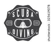 diving logo  label in vintage... | Shutterstock . vector #325619078