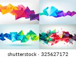 Vector set of faceted 3d crystal colorful shapes, banners. Horizontal crystal banners, faceted colorful  | Shutterstock vector #325627172