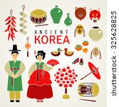 korean national symbols. set of ... | Shutterstock .eps vector #325628825