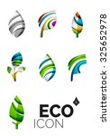 set of abstract eco leaf icons  ... | Shutterstock .eps vector #325652978