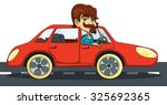 man driving red car. | Shutterstock .eps vector #325692365