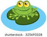 frog sitting on the leaf.green... | Shutterstock .eps vector #325693328