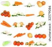 Collage of vegetables - tomato, onions, garlic, carrots and potato. Isolated - stock photo