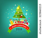 merry christmas tree and happy... | Shutterstock .eps vector #325860215