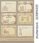 vintage postcards. set  | Shutterstock .eps vector #325894355