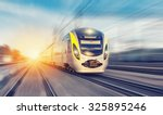 Modern high speed train on a...