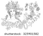 lady spring. hand drawn cute... | Shutterstock . vector #325901582