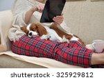 woman in cozy home wear... | Shutterstock . vector #325929812