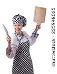 female chef holding chopping... | Shutterstock . vector #325948025