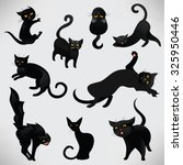 Stock vector set of black cats for halloween funny black cats in cartoon style in different poses vector 325950446