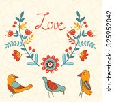 elegant love card with birds... | Shutterstock .eps vector #325952042