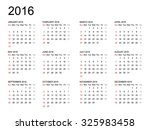 Calendar 2016 Year On White...