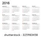 calendar 2016 year on white...   Shutterstock .eps vector #325983458