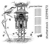 illustration with bird house   Shutterstock .eps vector #32599873