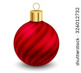 Red Christmas Ball With Stripe...