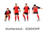 professional footballer isolated over a white background - stock photo