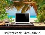 white laptop map hat rope torch ... | Shutterstock . vector #326058686