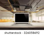 white laptop on the desk in the ... | Shutterstock . vector #326058692