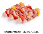 Three Raw Meat Skewers Isolate...