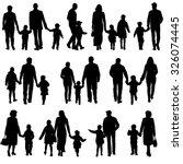 black silhouettes family on... | Shutterstock .eps vector #326074445