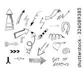 set of hand drawn sketch arrows ... | Shutterstock .eps vector #326089385