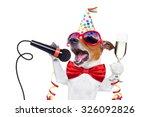jack russell dog celebrating... | Shutterstock . vector #326092826