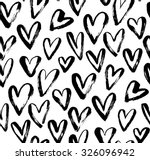 Stock vector abstract seamless heart pattern ink illustration black and white 326096942