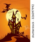 scary halloween house on night... | Shutterstock .eps vector #326097992