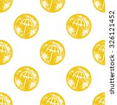 yellow beach umbrella pattern... | Shutterstock .eps vector #326121452