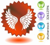 angel wing badge three | Shutterstock .eps vector #32612596
