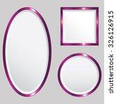 set of 3 pink metallic vector... | Shutterstock .eps vector #326126915