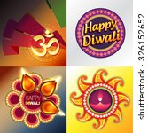 vector set of happy diwali... | Shutterstock .eps vector #326152652